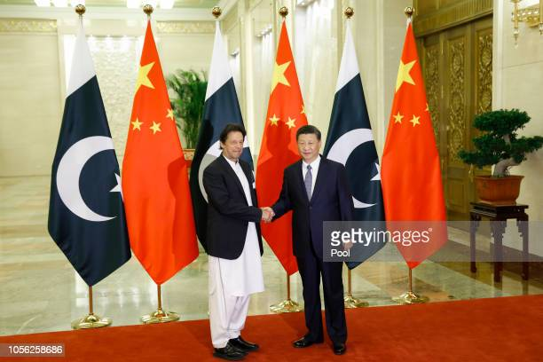 Chinese President Xi Jinping meets Pakistani Prime Minister Imran Khan at the Great Hall of the People on November 2, 2018 in Beijing, China.