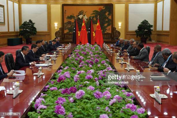 Chinese President Xi Jinping meets Papua New Guinea Prime Minister Peter O'Neill during the Second Belt and Road Forum at the Great Hall of the...