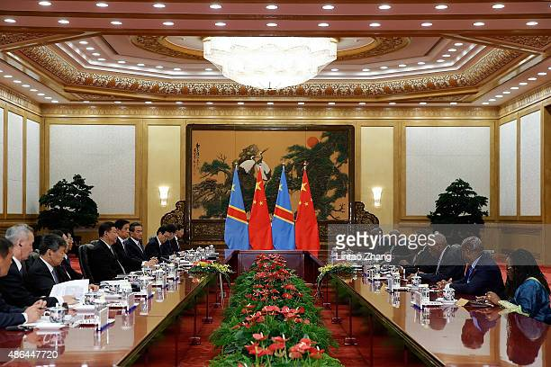 Chinese President Xi Jinping meets President Of Democratic Republic Of The Congo Joseph Kabila at The Great Hall Of The People on September 4 2015 in...