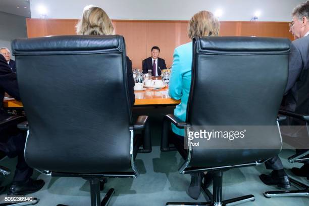 Chinese President Xi Jinping meets with Chancellor Angela Merkel to hold Bilateral talks at the German Chancellery on July 5 2017 in Berlin Germany...