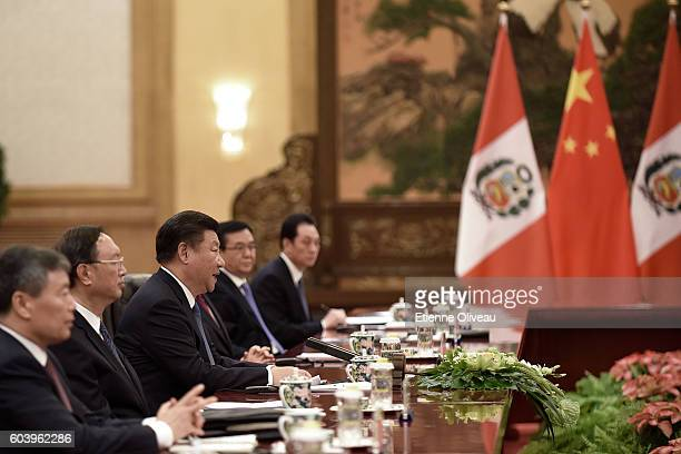 Chinese President Xi Jinping meets with Peruvian President Pedro Pablo Kuczynski after a welcoming ceremony at the Great Hall of the People on...