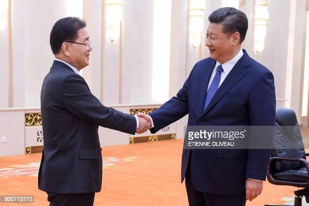 Chinese President Xi Jinping meets with South Korea's National Security Advisor Chung Eui-Yong and South Korean Ambassador to China Noh Young-min at...