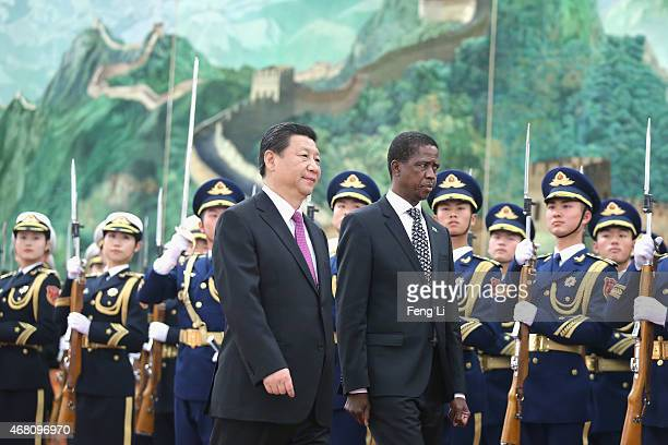 Chinese President Xi Jinping meets Zambia's President Edgar Chagwa Lungu at the Great Hall of the People on March 30 2015 in Beijing China