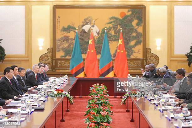 Chinese President Xi Jinping meets Zambia's President Edgar Chagwa Lungu at the Great Hall of the People on March 30 2015 in Beijing China Lungu is...