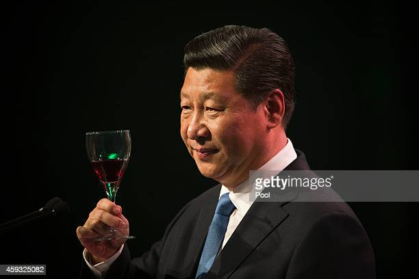 Chinese President Xi Jinping raises his glass for a toast during his talk before lunch at SkyCity Grand Hotel on November 21 2014 in Auckland New...