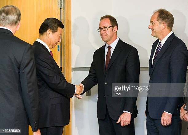 Chinese President Xi Jinping shakes hands with Andrew Little Leader of the Opposition while David Shearer waits for his chance before starting talks...