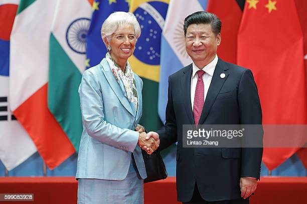 Chinese President Xi Jinping shakes hands with Christine Lagarde Managing Director of the International Monetary Fund during the G20 Summit at the...
