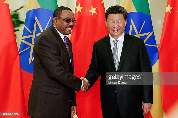 Chinese President Xi Jinping shakes hands with Ethiopia's Prime Minister Hailemariam Desalegn at The Great Hall Of The People on September 4 2015 in...