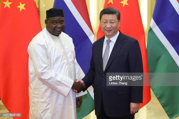Chinese President Xi Jinping shakes hands with Gambian President Adama Barrow before during a meeting at The Great Hall of People on September 6,...