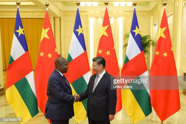 Chinese President Xi Jinping shakes hands with President of the Central African Republic, Faustin-Archange Touadera before during a meeting at The...