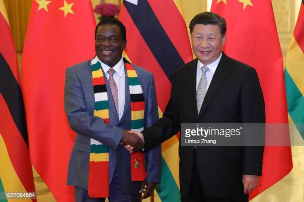 Chinese President Xi Jinping shakes hands with Zimbabwe President Emmerson Mnangagwa before during a meeting at the Great Hall of the People at The...