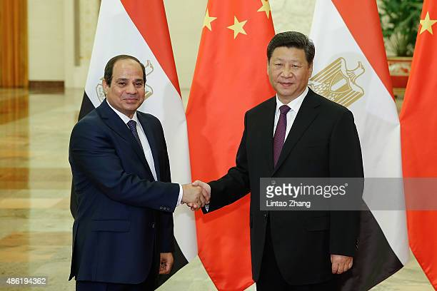 Chinese President Xi Jinping shankes hands with Egyptian President Abdel Fattah AlSisi at The Great Hall Of The People on September 2 2015 in Beijing...