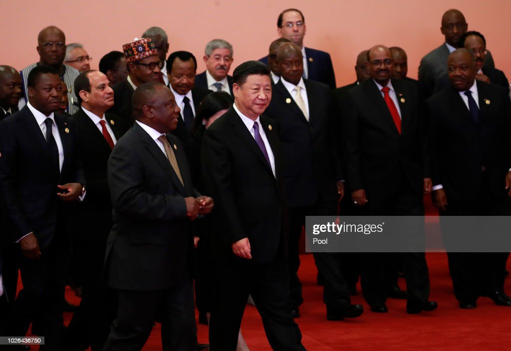 Chinese President Xi Jinping (front C), South African President Cyril Ramaphosa (front 3-L), Egyptian President Abdel Fattah al-Sisi(front 2-L), Togos President Faure Gnassingbé(front L) and other African leaders walk together after a group photo session during the Forum on China-Africa Cooperation (FOCAC) 2018 Beijing Summit on September 3, 2018 in Beijing, China.