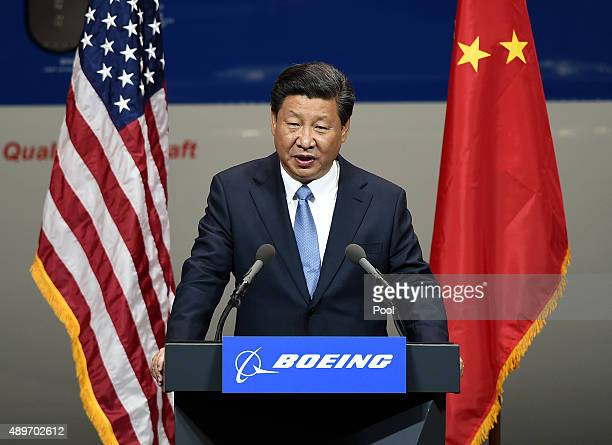 Chinese President Xi Jinping speaks after his tour of the Boeing assembly line on September 23 in Seattle Washington According to state media and...