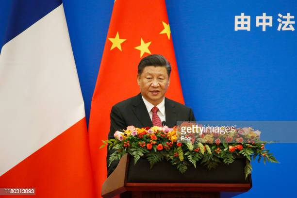 Chinese President Xi Jinping speaks at a ChinaFrance Economic Forum at the Great Hall of the People on November 6 2019 in Beijing China Macron who is...