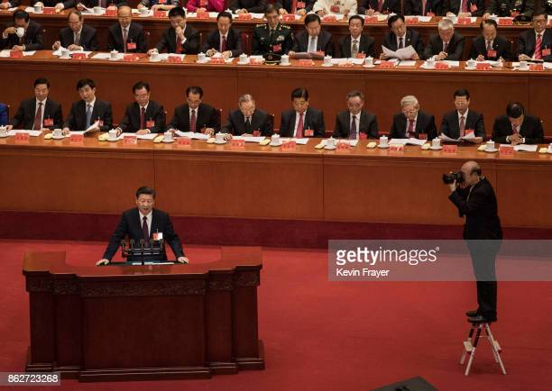 Chinese President Xi Jinping speaks at the opening session of the 19th Communist Party Congress held at The Great Hall Of The People on October 18,...