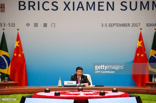 Chinese President Xi Jinping speaks at the plenary session during the BRICS Summit at the Xiamen International Conference and Exhibition Center in...