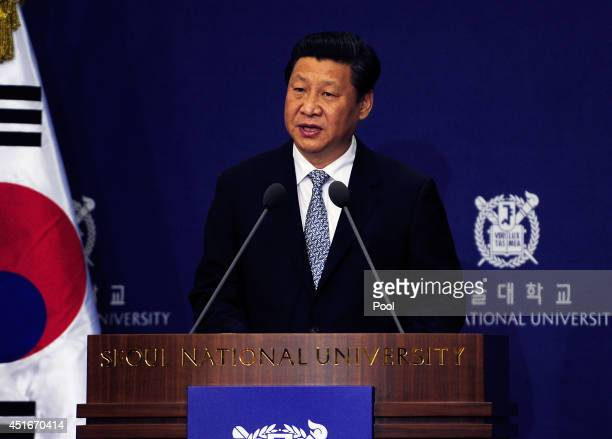 Chinese President Xi Jinping speaks during a lecture at Seoul National University on July 4 2014 in Seoul South Korea President Xi Jinping is...