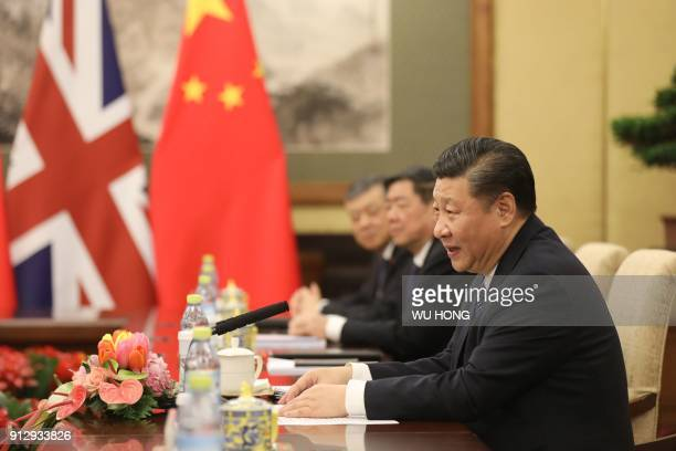 Chinese President Xi Jinping speaks during a meeting with Britain's Prime Minister Theresa May at the Diaoyutai State Guesthouse in Beijing on...