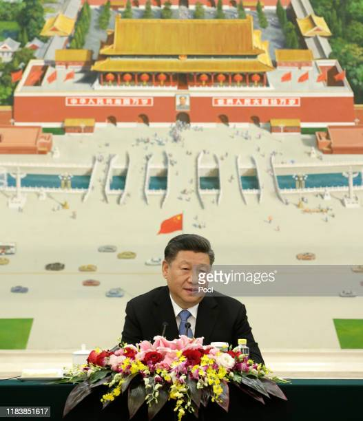 Chinese President Xi Jinping speaks during a meeting with delegates from the 2019 New Economy Forum at the Great Hall of the People in Beijing China...