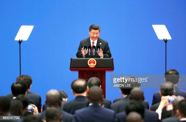 TOPSHOT Chinese President Xi Jinping speaks during a news conference at the Belt and Road Forum at the International Conference Center in Yanqi Lake...