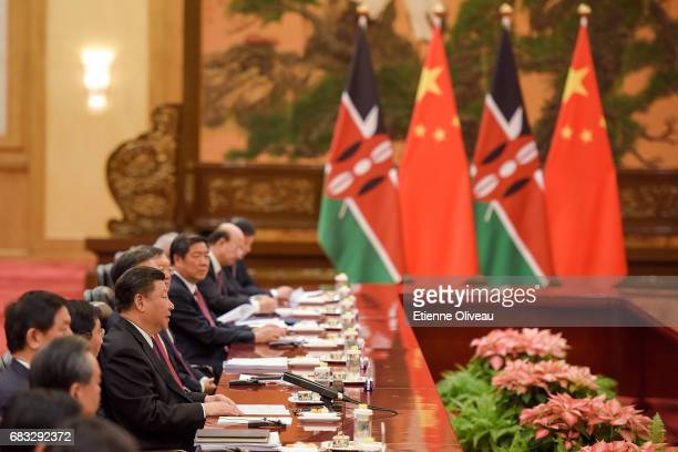 Chinese President Xi Jinping speaks during his bilateral meeting with Kenyan President Uhuru Kenyatta during the Belt and Road Forum for...