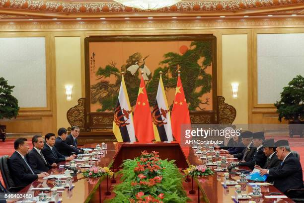 Chinese President Xi Jinping speaks during his meeting with Sultan of Brunei Hassanal Bolkiah at the Great Hall of the People in Beijing on September...