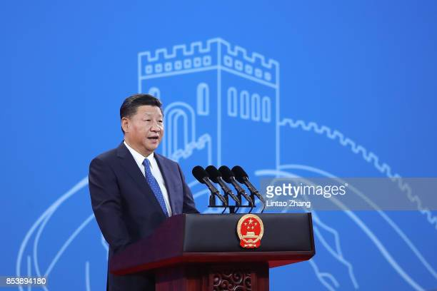 Chinese President Xi Jinping speaks during the 86th INTERPOL General Assembly at Beijing National Convention Center on September 26, 2017 in Beijing,...