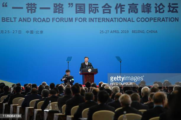 Chinese President Xi Jinping speaks during the opening ceremony of the Belt and Road Forum in Beijing in April 26 2019