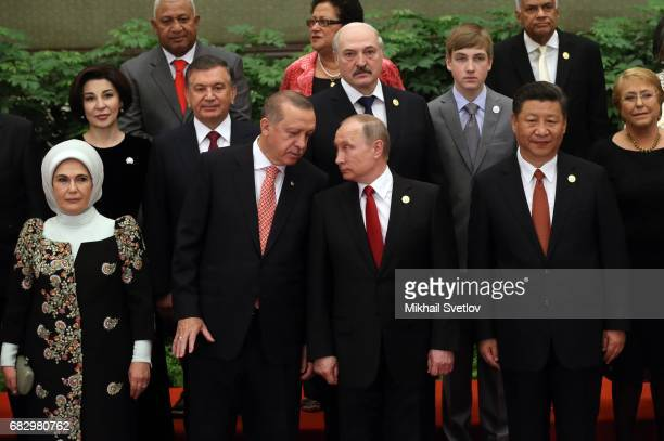 Chinese President Xi Jinping , Turkish President Recep Tayyip Erdogan and his wife Emine Erdogan , Russian President Vladimir Putin , Belarussian...