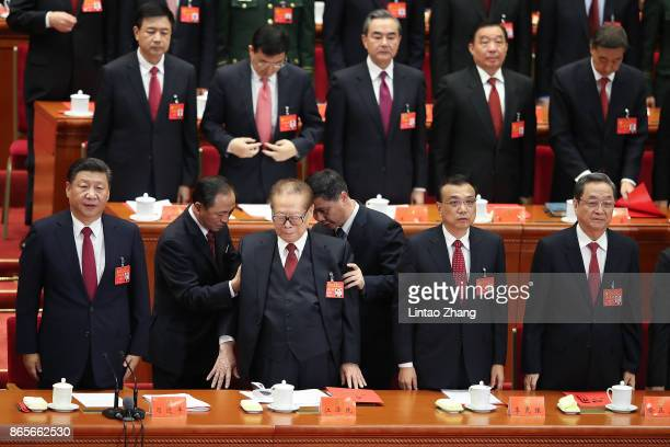 Chinese President Xi Jinping with China's former president Jiang Zemin Chinese Premier Li Keqiang and Chairman of the National Committee of the...