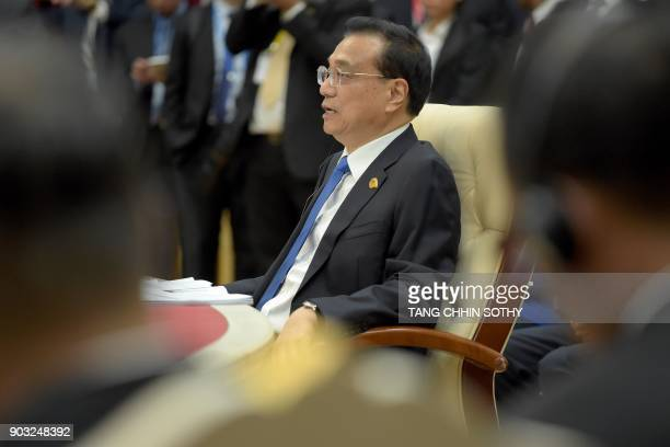 Chinese Prime Minister Li Keqiang speaks during the second MekongLancang Cooperation Leaders' Meeting at the Peace Palace in Phnom Penh on January 10...