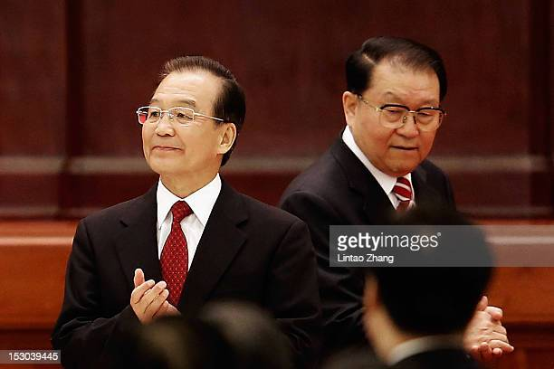 Chinese Prime Minister Wen Jiabao and Li CHangchun a member of the Standing Committee of the Political Bureau of the Communist Party of China Central...
