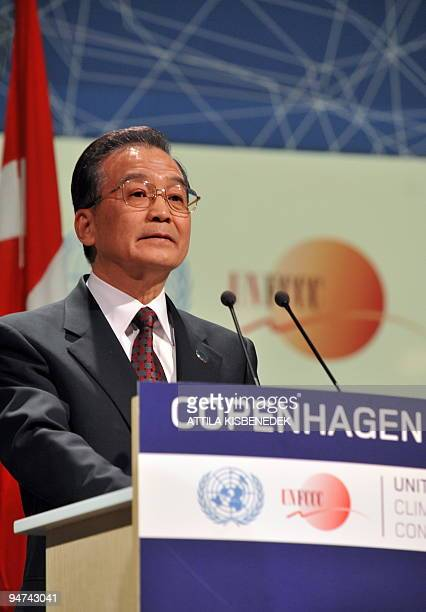 Chinese Prime Minister Wen Jiabao delivers a speech during the plenary session at the Bella center of Copenhagen on December 18 2009 on the 12th day...