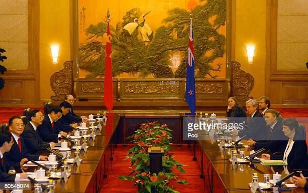 Chinese Prime Minister Wen Jiabao meets with New Zealand Prime Minister Helen Clark at the Great Hall of the People on April 7 2008 in Beijing China...