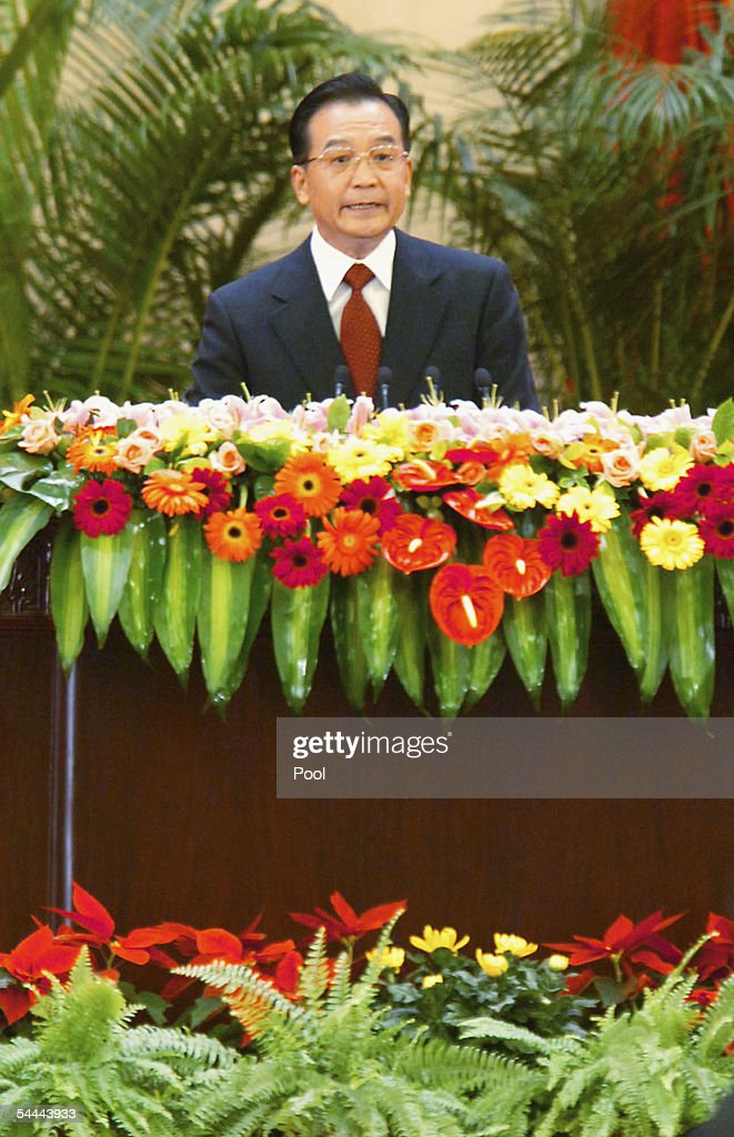 Chinese Primer Wen Jia Bao speaks at a banquet commemorating the 60th anniversary of victory of China's Resistance War Against Japanese Aggression in the Great Hall of the People on September 3, 2005 in Beijing, China, to mark the defeat of Japan 60 years ago.