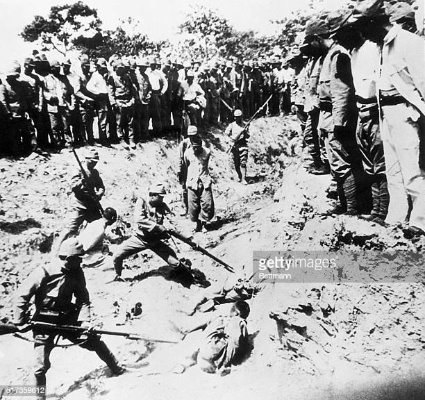 Chinese prisoners are used as live targets in a bayonet drill by their Japanese captors during the infamous Rape of Nanjing.
