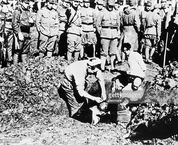 Chinese prisoners being buried alive by their Japanese captors outside the city of Nanjing during the infamous Rape of Nanjing