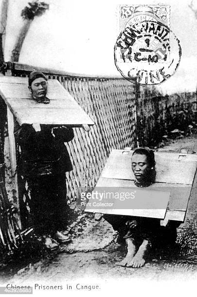 Chinese prisoners in cangues 1910 Postcard