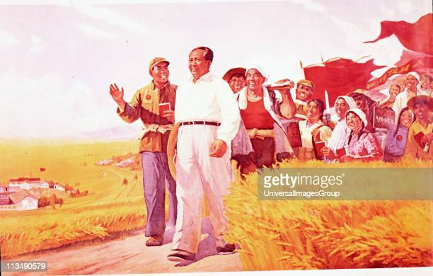 Chinese propaganda poster showing Mao Tse-Tung , Chinese Communist leader, with peasants during the Cultural Revolution of 1966.