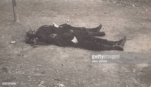 Chinese Revolution or Xinhai Revolution Deadbodies of Chinese revolutionary soldiers In October 1911