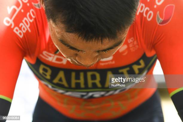 Chinese rider Meiyin Wang from team Bahrain Merida during a warm up ahead of the opening stage 26km Individual Time Trial in Daisen Park Sakai On...