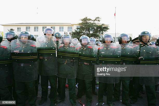 Chinese riot police guard the Japanese Embassy during an anti-Japanese demonstration on April 9, 2005 in Beijing, China. Up 10,000 demonstrators...