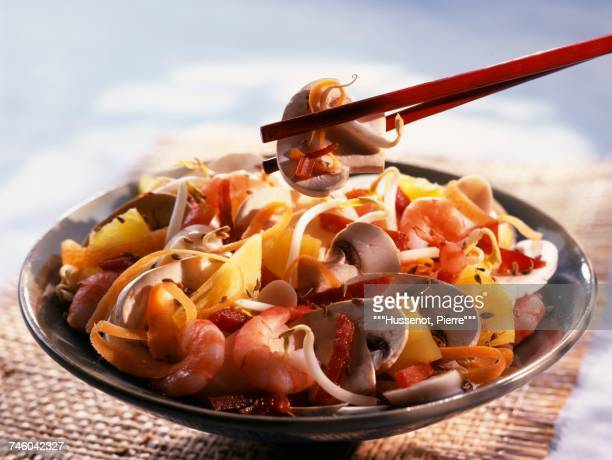 Chinese salad with mushrooms