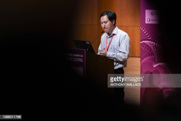 Chinese scientist He Jiankui reacts as he speaks at the Second International Summit on Human Genome Editing in Hong Kong on November 28 2018