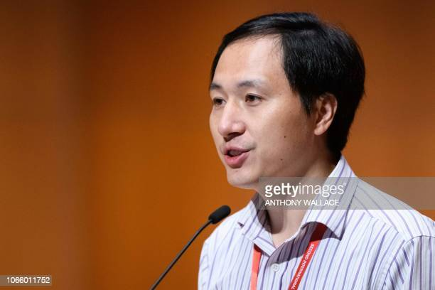 Chinese scientist He Jiankui speaks at the Second International Summit on Human Genome Editing in Hong Kong on November 28 2018