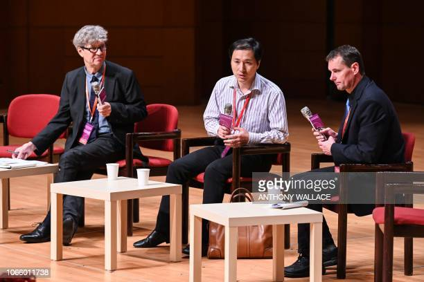 Chinese scientist He Jiankui takes part in a question and answer session after speaking at the Second International Summit on Human Genome Editing in...