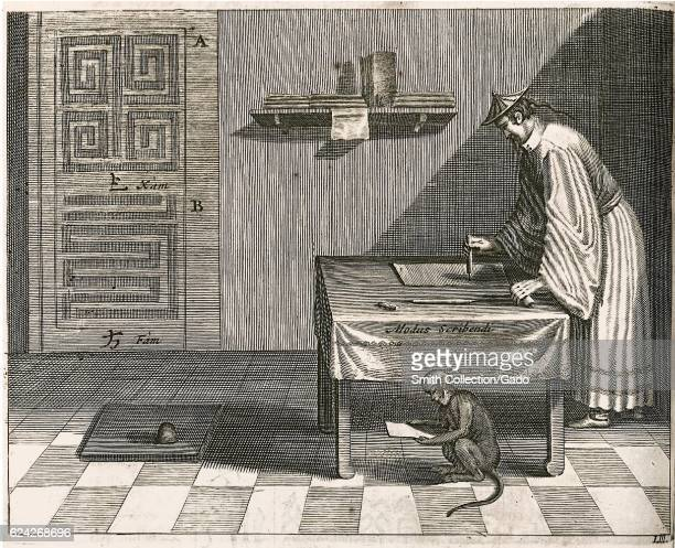A Chinese scribe demonstrating the proper brush grip for Chinese calligraphy the scribe is standing and bending over a table and a monkey appears to...