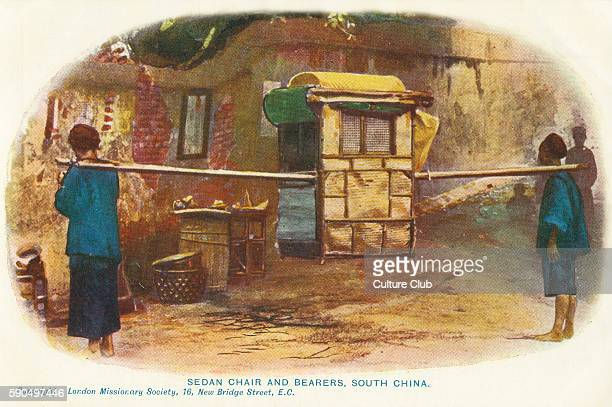 Chinese Sedan Chair and bearers Postcard from the London Missionary Society