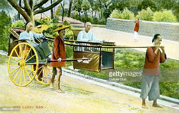 Chinese sedan chair and cart Two men carry another in a sedan chair which has a cart attached carrying another man Caption reads 'Men carrying men'...